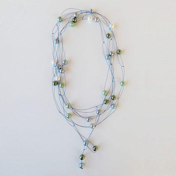 Perlenkette blau/grün