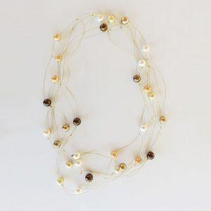 Perlenkette braun/gold