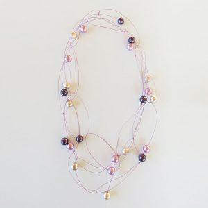 Perlenkette violett/rosa
